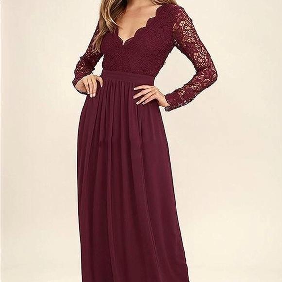 Burgundy Lace Bridesmaid Dress Nwt